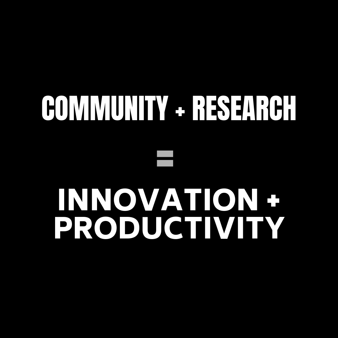 Community + Research = Innovation + Productivity
